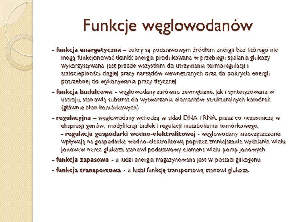 Funkcje węglowodanów - funkcja energetyczna – cukry są podstawowym źródłem energii bez którego nie mogą funkcjonować tkanki; energia produkowana w prz