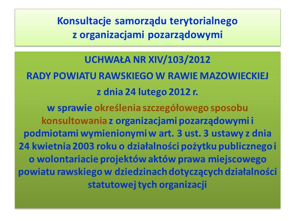 Konsultacje samorządu terytorialnego z organizacjami pozarządowymi UCHWAŁA NR XIV/103/2012 RADY POWIATU RAWSKIEGO W RAWIE MAZOWIECKIEJ z dnia 24 luteg