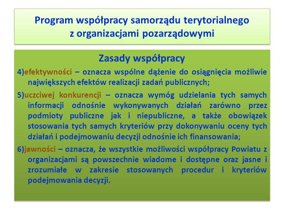 Program współpracy samorządu terytorialnego z organizacjami pozarządowymi Zasady współpracy 4)efektywności – oznacza wspólne dążenie do osiągnięcia mo