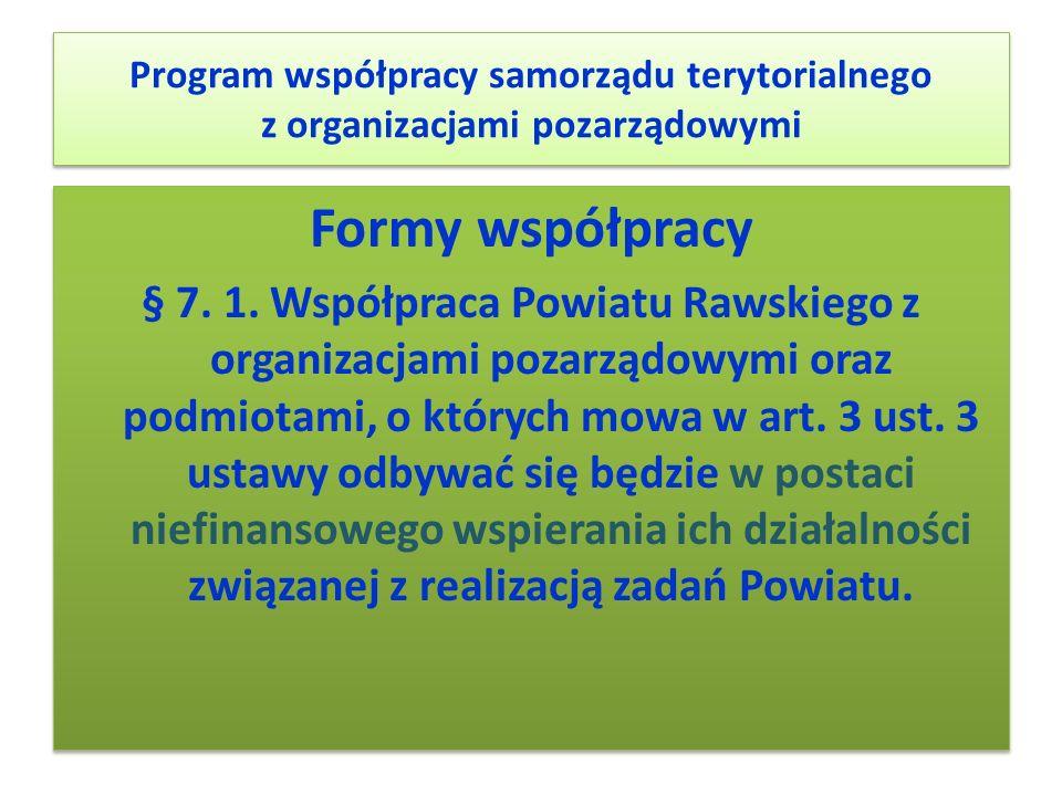 Program współpracy samorządu terytorialnego z organizacjami pozarządowymi Formy współpracy § 7. 1. Współpraca Powiatu Rawskiego z organizacjami pozarz