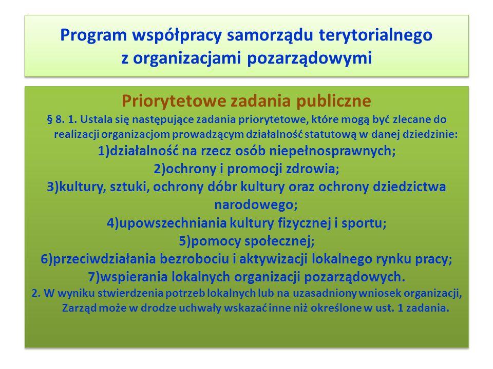 Program współpracy samorządu terytorialnego z organizacjami pozarządowymi Priorytetowe zadania publiczne § 8. 1. Ustala się następujące zadania priory