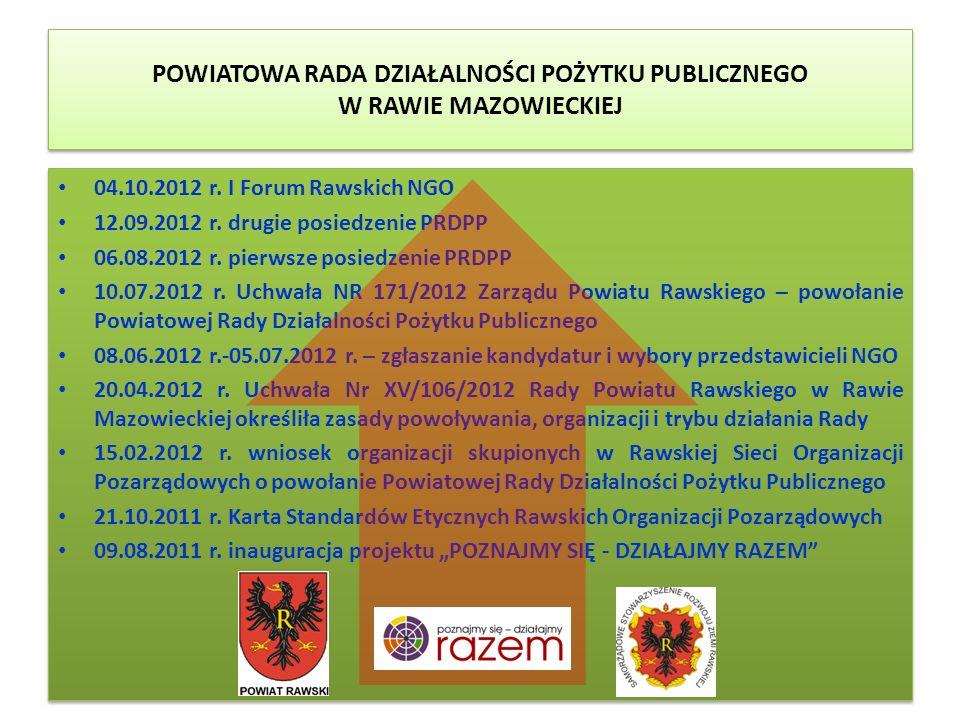 POWIATOWA RADA DZIAŁALNOŚCI POŻYTKU PUBLICZNEGO W RAWIE MAZOWIECKIEJ 04.10.2012 r. I Forum Rawskich NGO 12.09.2012 r. drugie posiedzenie PRDPP 06.08.2