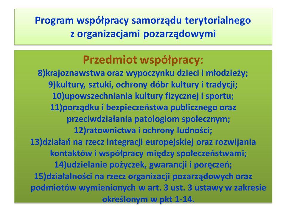 Program współpracy samorządu terytorialnego z organizacjami pozarządowymi Przedmiot współpracy: 8)krajoznawstwa oraz wypoczynku dzieci i młodzieży; 9)