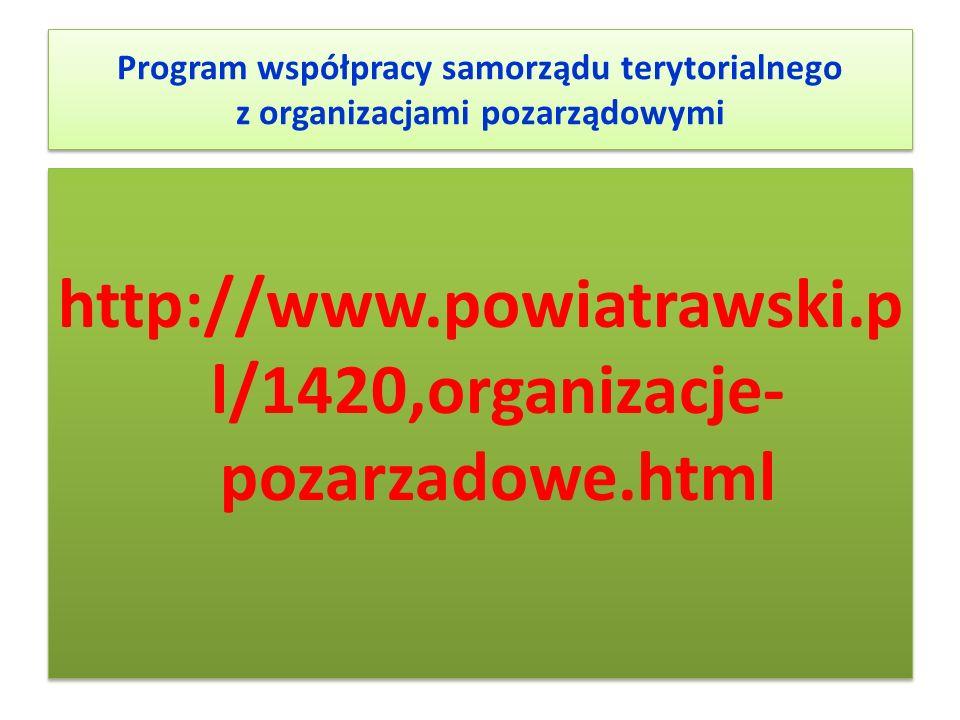 Program współpracy samorządu terytorialnego z organizacjami pozarządowymi http://www.powiatrawski.p l/1420,organizacje- pozarzadowe.html