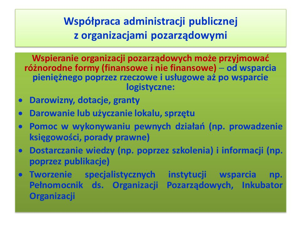 Współpraca administracji publicznej z organizacjami pozarządowymi Wspieranie organizacji pozarządowych może przyjmować różnorodne formy (finansowe i n