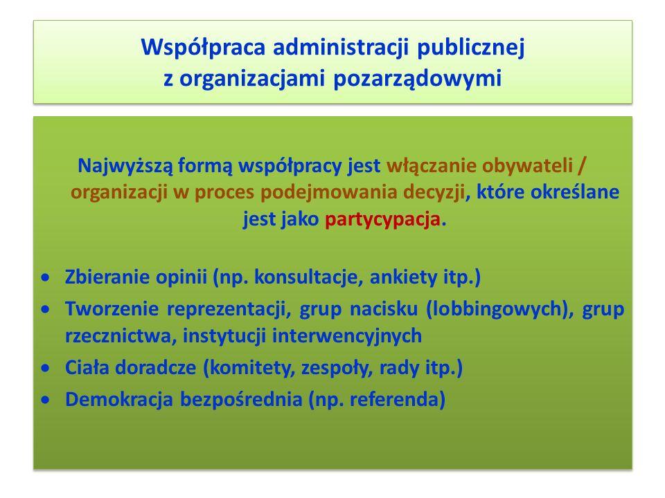 Współpraca administracji publicznej z organizacjami pozarządowymi Najwyższą formą współpracy jest włączanie obywateli / organizacji w proces podejmowa