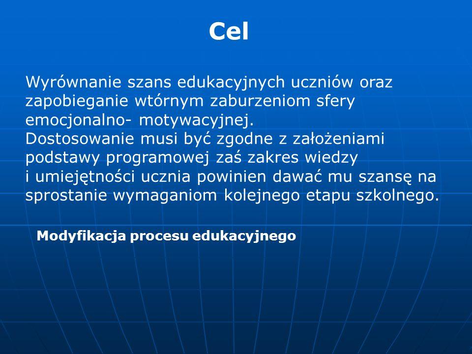 Obszary dostosowania warunki procesu edukacyjnego tj zasady, metody, formy, środki dydaktyczne zewnętrzną organizację nauczania ( np.