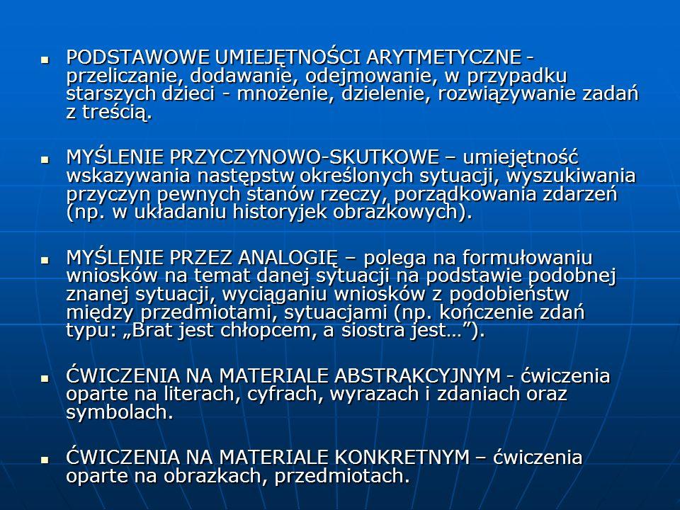 JĘZYK POLSKI trudności w czytaniu i pisaniu ( trudności z kojarzeniem określonych dźwięków (głosek) z odpowiadającymi im symbolami (literami), trudności w rozumieniu czytanych treści, trudności w samodzielnym wypowiadaniu się, formułowaniu wniosków i sądów, w uogólnianiu, myśleniu symbolicznym (abstrakcyjnym), niski poziom rozwoju słowno – pojęciowego (odpowiada wcześniejszej fazie rozwoju) niski poziom rozwoju słowno – pojęciowego (odpowiada wcześniejszej fazie rozwoju) ubogie słownictwo, wadliwa struktura gramatyczna wypowiedzi ustnych i pisemnych, słabsza sprawność manualna (rysunki, pismo mają niski poziom graficzny – odpowiadają wcześniejszej fazie rozwoju), słaba umiejętność stosowania konwencjonalnych sposobów zapamiętywania, duże problemy z przywoływaniem z pamięci odległych partii materiału (słaba pamięć długotrwała, operacyjna), trudności z selekcją i wychwyceniem myśli przewodniej w długich tekstach,