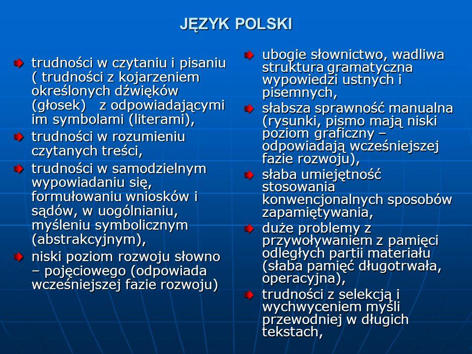 JĘZYK POLSKI trudności w czytaniu i pisaniu ( trudności z kojarzeniem określonych dźwięków (głosek) z odpowiadającymi im symbolami (literami), trudnoś