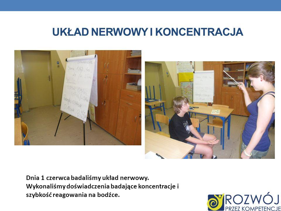 UKŁAD NERWOWY I KONCENTRACJA Dnia 1 czerwca badaliśmy układ nerwowy. Wykonaliśmy doświadczenia badające koncentracje i szybkość reagowania na bodźce.