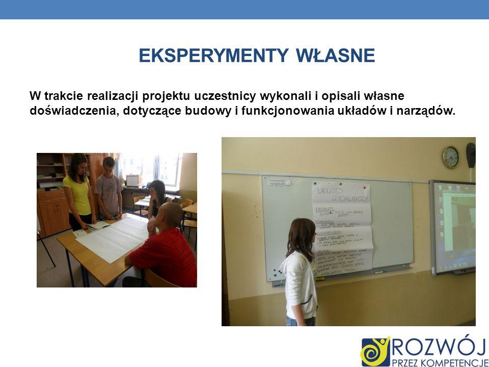 EKSPERYMENTY WŁASNE W trakcie realizacji projektu uczestnicy wykonali i opisali własne doświadczenia, dotyczące budowy i funkcjonowania układów i narz