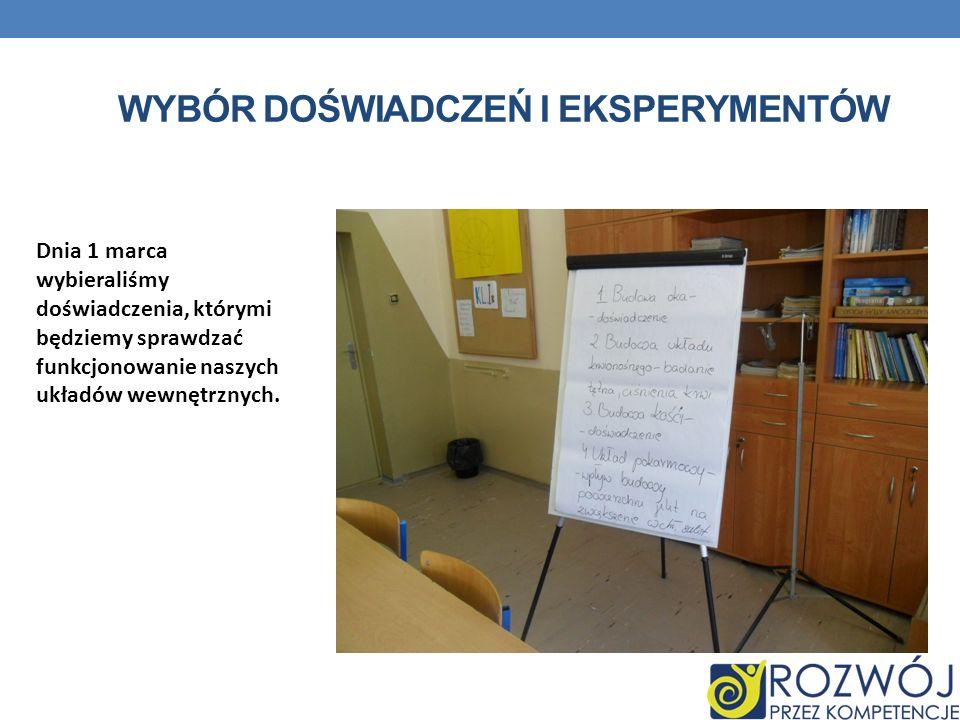WYBÓR DOŚWIADCZEŃ I EKSPERYMENTÓW Dnia 1 marca wybieraliśmy doświadczenia, którymi będziemy sprawdzać funkcjonowanie naszych układów wewnętrznych.