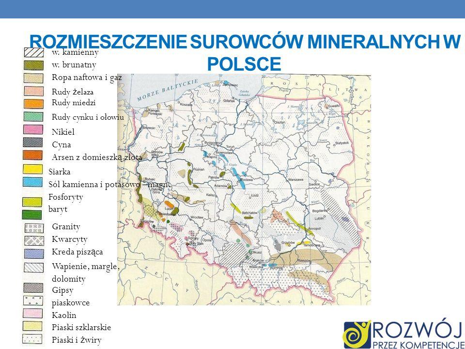 ROZMIESZCZENIE SUROWCÓW MINERALNYCH W POLSCE w.kamienny w.