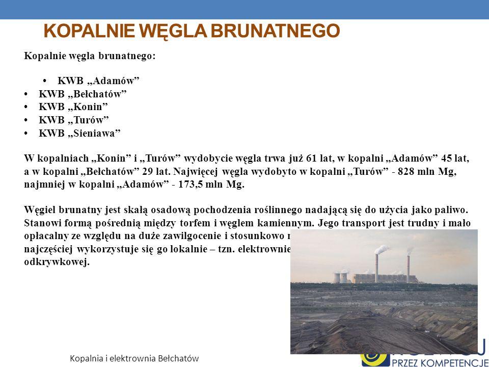 KOPALNIE WĘGLA BRUNATNEGO Kopalnie węgla brunatnego: KWB Adamów KWB Bełchatów KWB Konin KWB Turów KWB Sieniawa W kopalniach Konin i Turów wydobycie węgla trwa już 61 lat, w kopalni Adamów 45 lat, a w kopalni Bełchatów 29 lat.