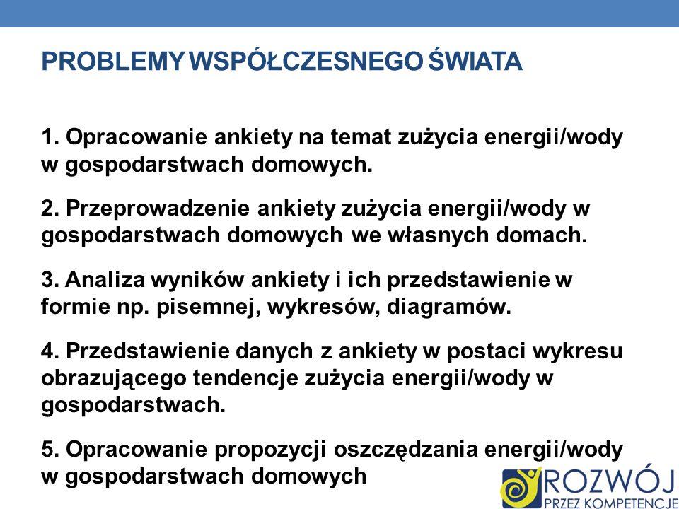 PROBLEMY WSPÓŁCZESNEGO ŚWIATA 1. Opracowanie ankiety na temat zużycia energii/wody w gospodarstwach domowych. 2. Przeprowadzenie ankiety zużycia energ