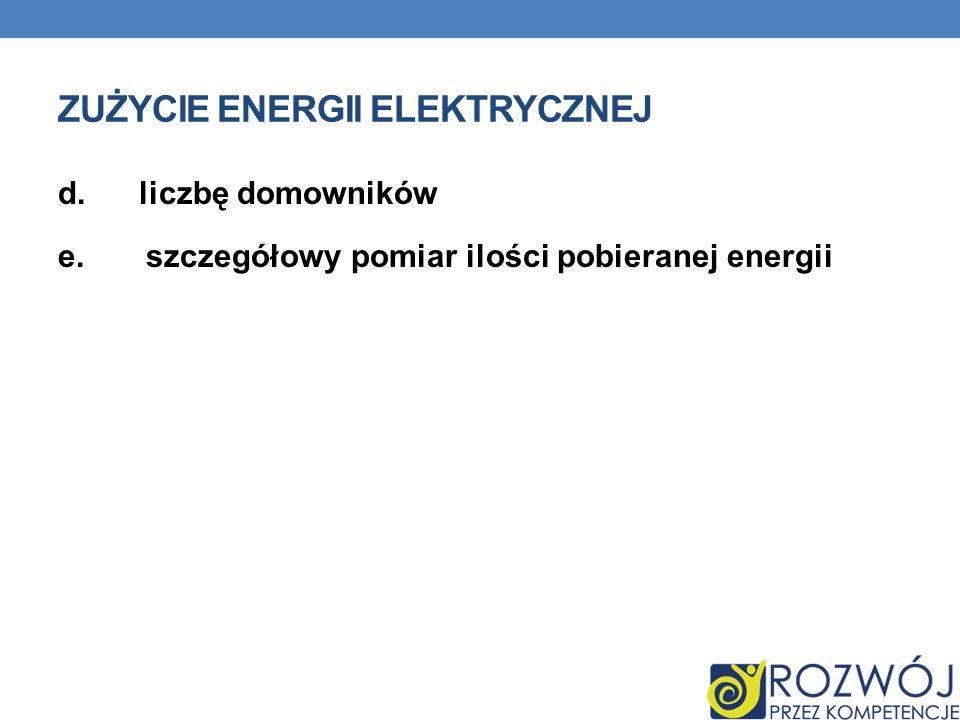 ZUŻYCIE ENERGII ELEKTRYCZNEJ d. liczbę domowników e. szczegółowy pomiar ilości pobieranej energii