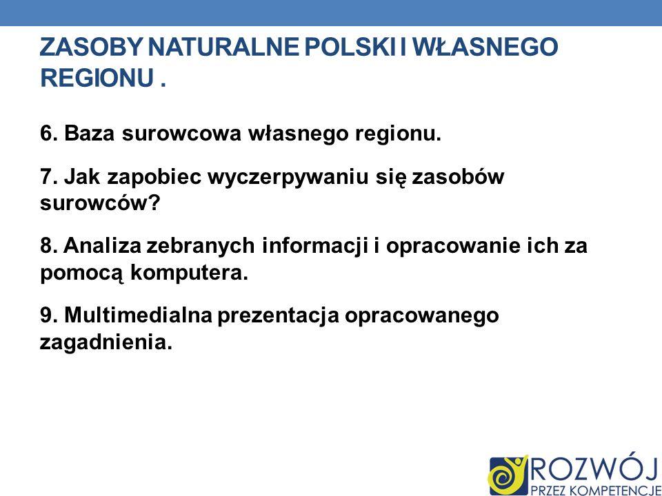 ZASOBY NATURALNE POLSKI I WŁASNEGO REGIONU.6. Baza surowcowa własnego regionu.