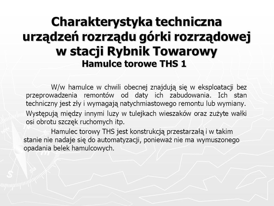 Charakterystyka techniczna urządzeń rozrządu górki rozrządowej w stacji Rybnik Towarowy Hamulce torowe THS 1 W/w hamulce w chwili obecnej znajdują się