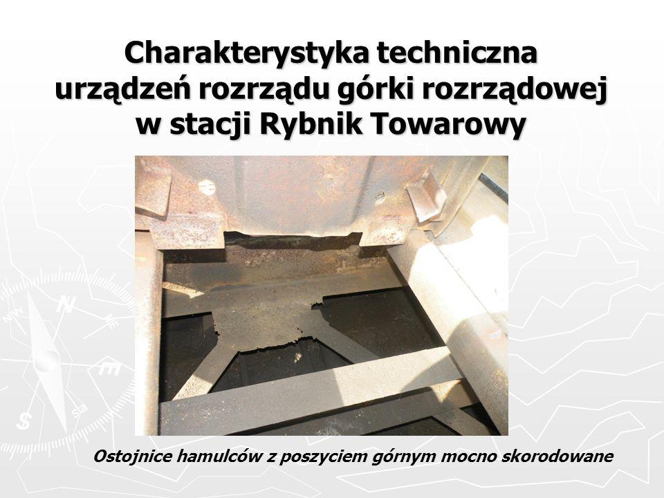 Charakterystyka techniczna urządzeń rozrządu górki rozrządowej w stacji Rybnik Towarowy Ostojnice hamulców z poszyciem górnym mocno skorodowane