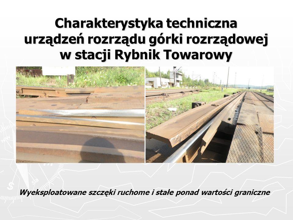Charakterystyka techniczna urządzeń rozrządu górki rozrządowej w stacji Rybnik Towarowy Wyeksploatowane szczęki ruchome i stałe ponad wartości granicz