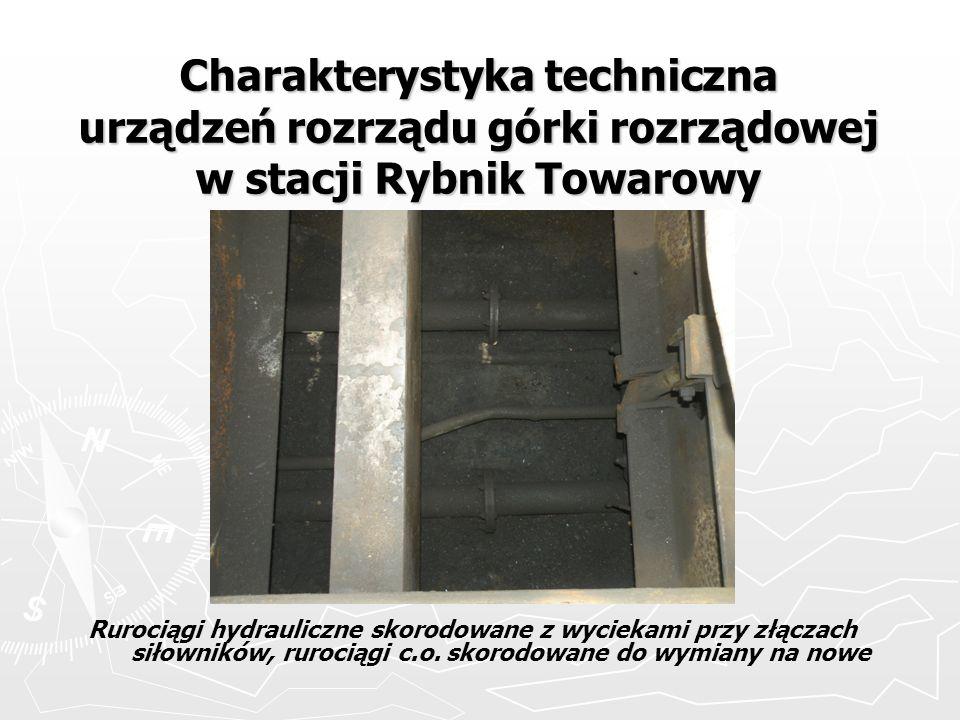 Charakterystyka techniczna urządzeń rozrządu górki rozrządowej w stacji Rybnik Towarowy Rurociągi hydrauliczne skorodowane z wyciekami przy złączach s