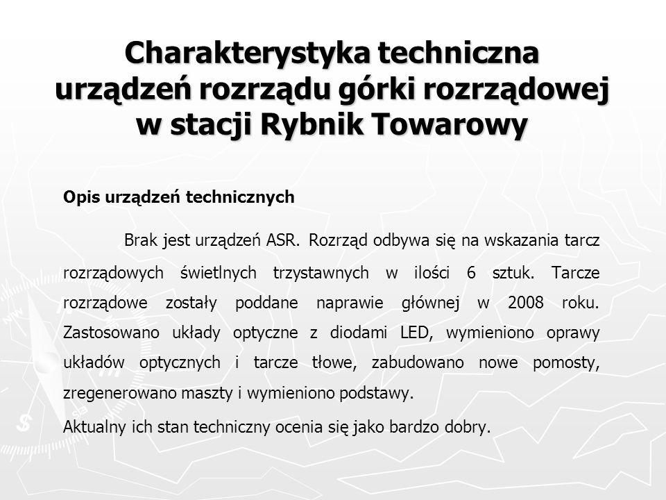Charakterystyka techniczna urządzeń rozrządu górki rozrządowej w stacji Rybnik Towarowy Opis urządzeń technicznych Brak jest urządzeń ASR. Rozrząd odb