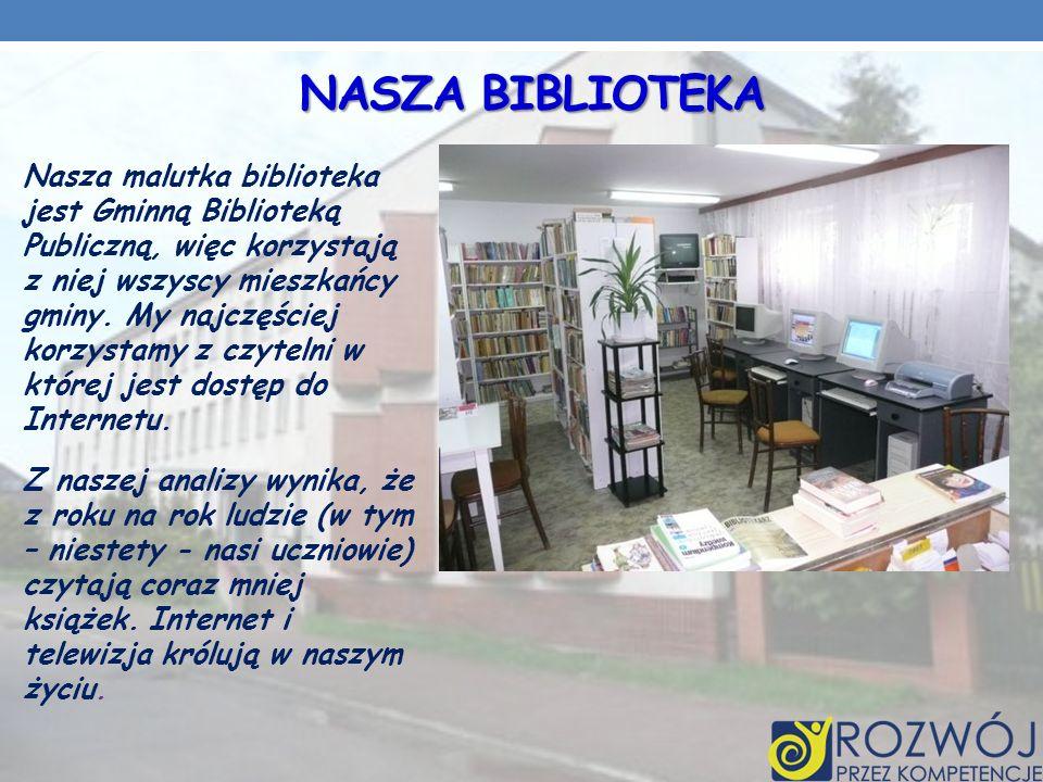 NASZA BIBLIOTEKA Nasza malutka biblioteka jest Gminną Biblioteką Publiczną, więc korzystają z niej wszyscy mieszkańcy gminy.