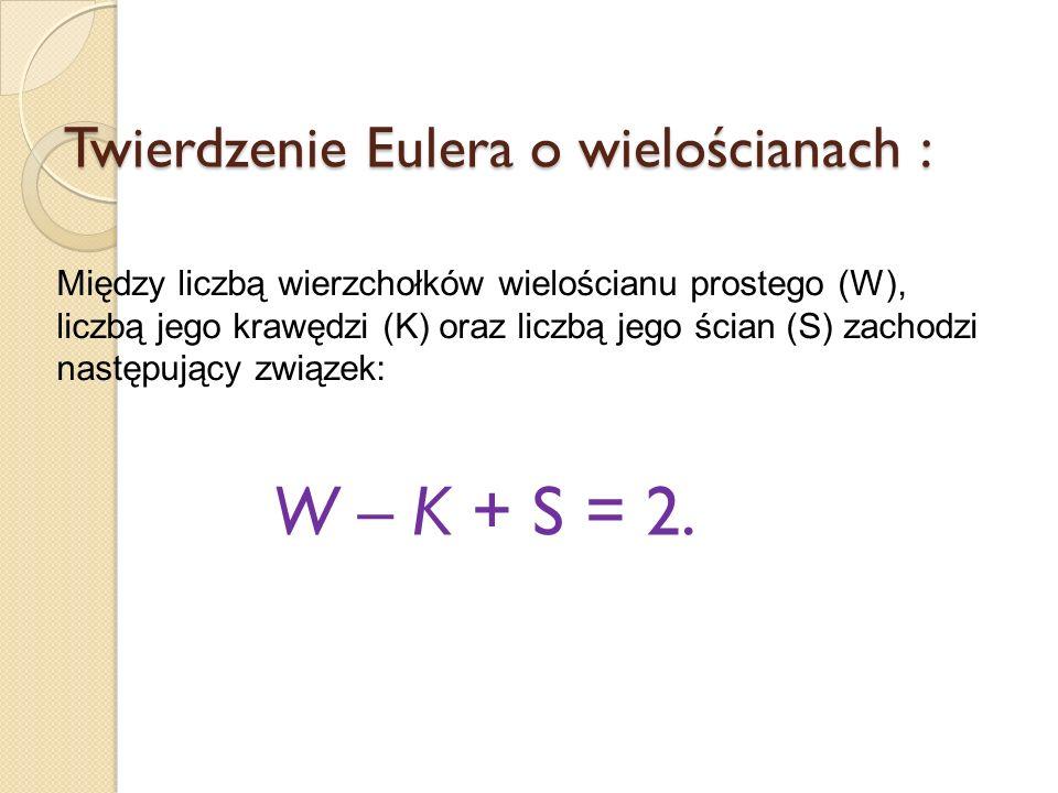 Twierdzenie Eulera o wielościanach : Między liczbą wierzchołków wielościanu prostego (W), liczbą jego krawędzi (K) oraz liczbą jego ścian (S) zachodzi