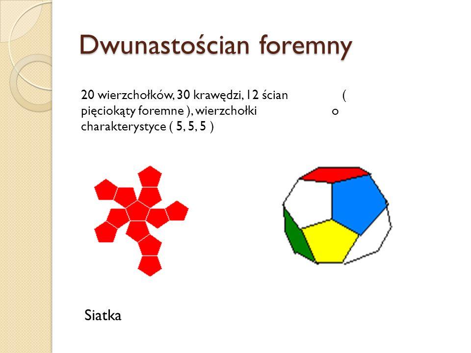 Dwunastościan foremny 20 wierzchołków, 30 krawędzi, 12 ścian ( pięciokąty foremne ), wierzchołki o charakterystyce ( 5, 5, 5 ) Siatka