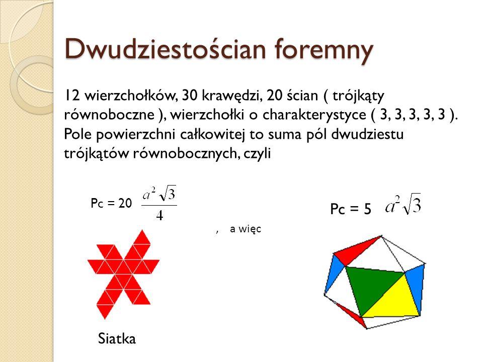Dwudziestościan foremny 12 wierzchołków, 30 krawędzi, 20 ścian ( trójkąty równoboczne ), wierzchołki o charakterystyce ( 3, 3, 3, 3, 3 ). Pole powierz