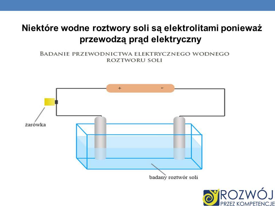 Niektóre wodne roztwory soli są elektrolitami ponieważ przewodzą prąd elektryczny