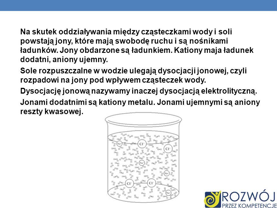 Na skutek oddziaływania między cząsteczkami wody i soli powstają jony, które mają swobodę ruchu i są nośnikami ładunków. Jony obdarzone są ładunkiem.