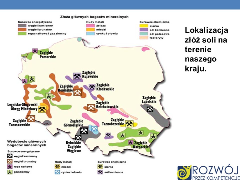 Lokalizacja złóż soli na terenie naszego kraju.