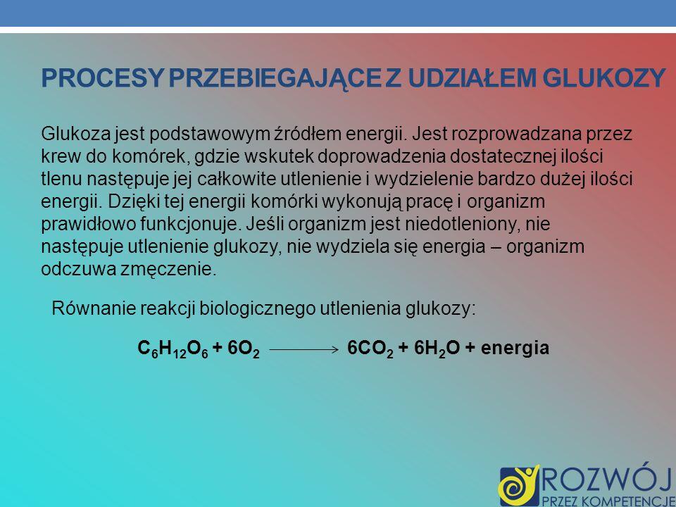 PROCESY PRZEBIEGAJĄCE Z UDZIAŁEM GLUKOZY Glukoza jest podstawowym źródłem energii. Jest rozprowadzana przez krew do komórek, gdzie wskutek doprowadzen