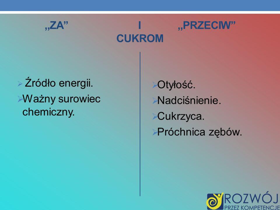 ,,ZA I,,PRZECIW CUKROM Źródło energii. Ważny surowiec chemiczny. Otyłość. Nadciśnienie. Cukrzyca. Próchnica zębów.