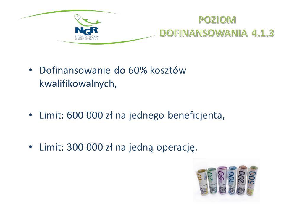 Dofinansowanie do 60% kosztów kwalifikowalnych, Limit: 600 000 zł na jednego beneficjenta, Limit: 300 000 zł na jedną operację.