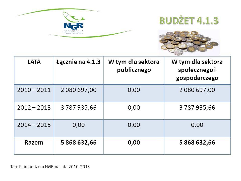 Tab. Plan budżetu NGR na lata 2010-2015 LATAŁącznie na 4.1.3W tym dla sektora publicznego W tym dla sektora społecznego i gospodarczego 2010 – 20112 0