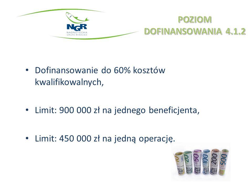 Dofinansowanie do 60% kosztów kwalifikowalnych, Limit: 900 000 zł na jednego beneficjenta, Limit: 450 000 zł na jedną operację.