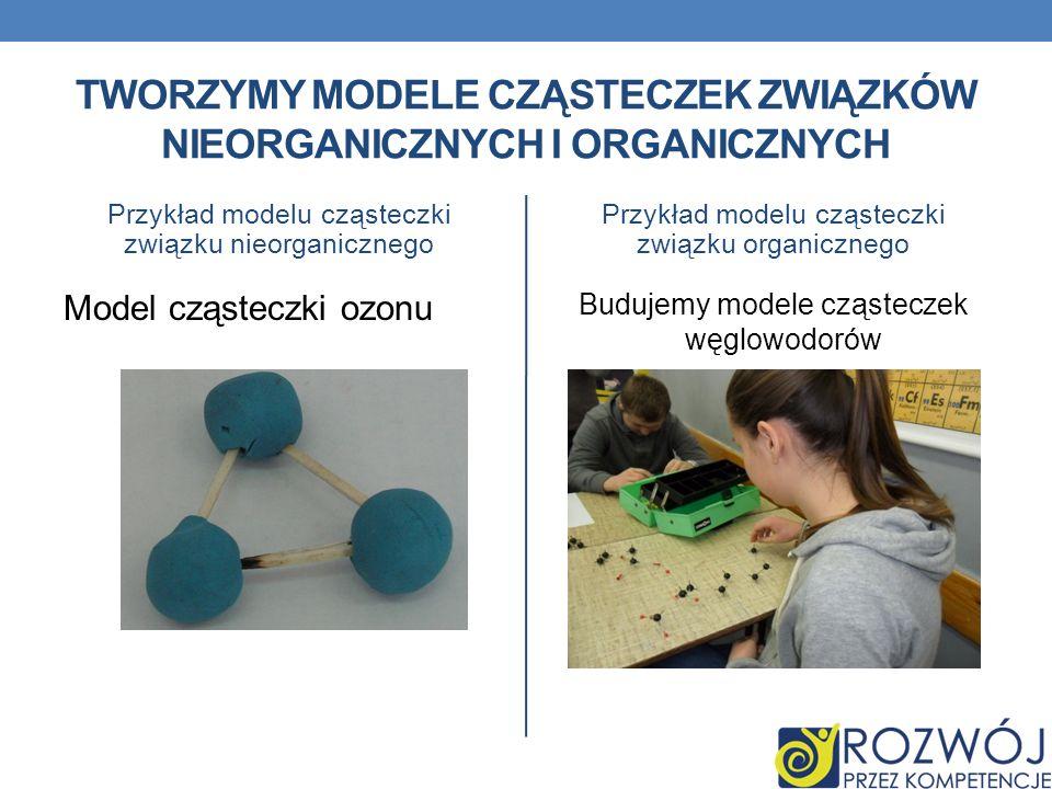 TWORZYMY MODELE CZĄSTECZEK ZWIĄZKÓW NIEORGANICZNYCH I ORGANICZNYCH Przykład modelu cząsteczki związku nieorganicznego Model cząsteczki ozonu Przykład