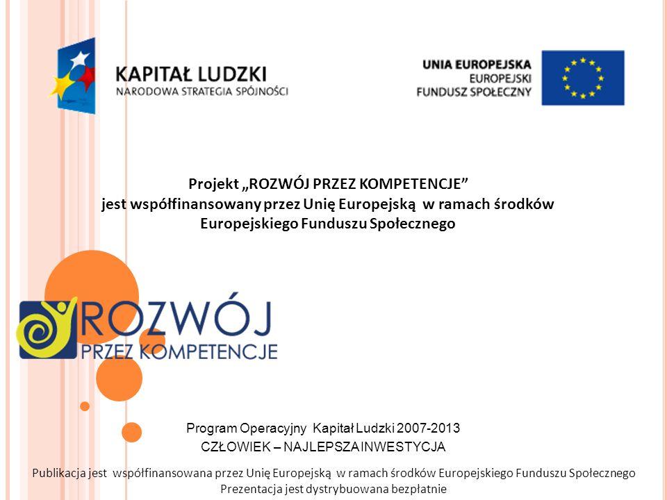 Program Operacyjny Kapitał Ludzki 2007-2013 CZŁOWIEK – NAJLEPSZA INWESTYCJA Publikacja jest współfinansowana przez Unię Europejską w ramach środków Eu