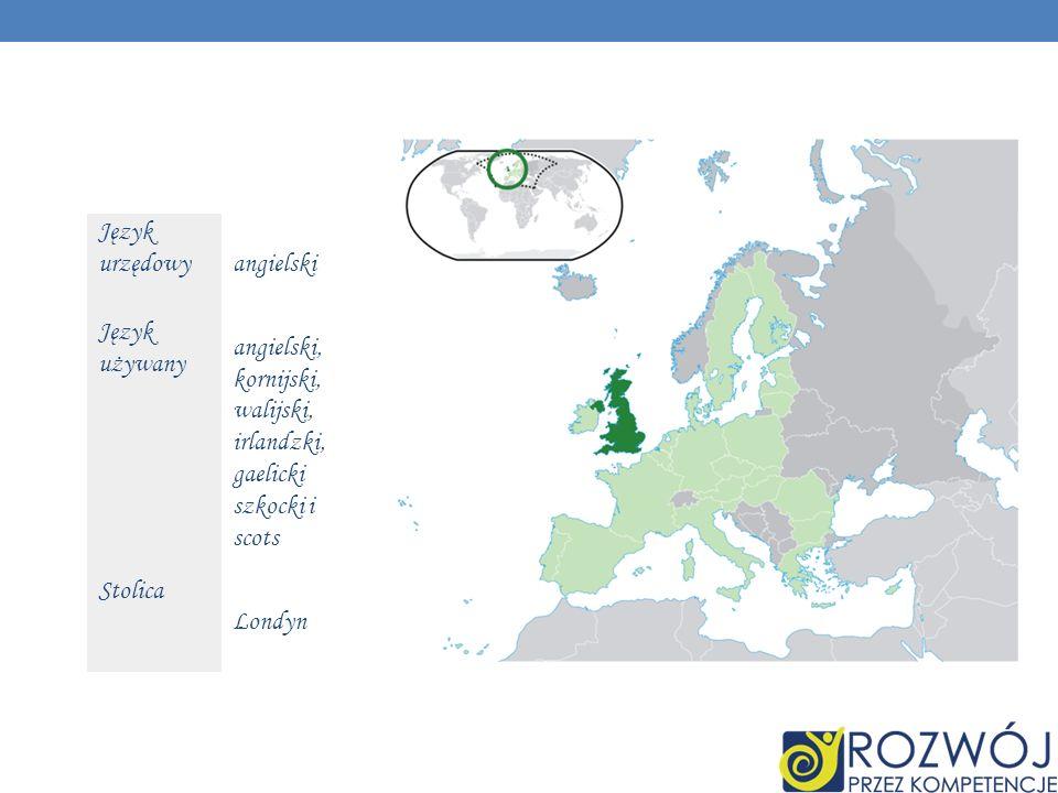 Język urzędowy angielski Język używany angielski, kornijski, walijski, irlandzki, gaelicki szkocki i scots Stolica Londyn