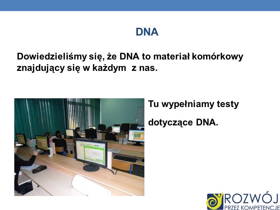 DNA Dowiedzieliśmy się, że DNA to materiał komórkowy znajdujący się w każdym z nas. Tu wypełniamy testy dotyczące DNA.