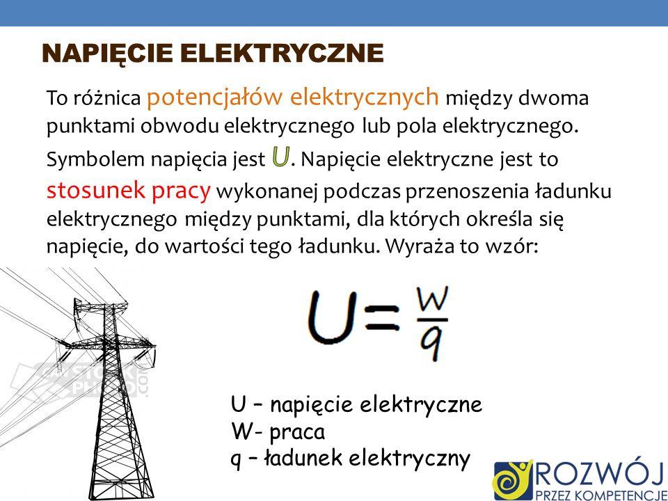 NAPIĘCIE ELEKTRYCZNE U – napięcie elektryczne W- praca q – ładunek elektryczny