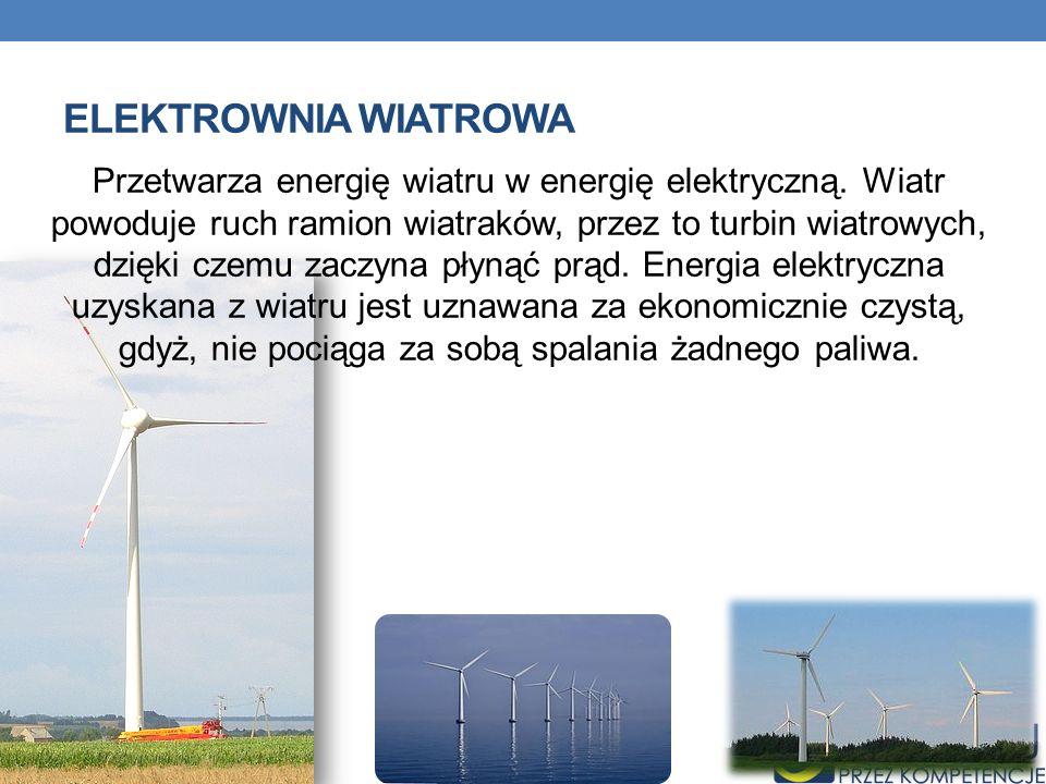 ELEKTROWNIA WIATROWA Przetwarza energię wiatru w energię elektryczną. Wiatr powoduje ruch ramion wiatraków, przez to turbin wiatrowych, dzięki czemu z