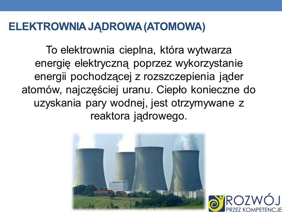ELEKTROWNIA JĄDROWA (ATOMOWA) To elektrownia cieplna, która wytwarza energię elektryczną poprzez wykorzystanie energii pochodzącej z rozszczepienia ją