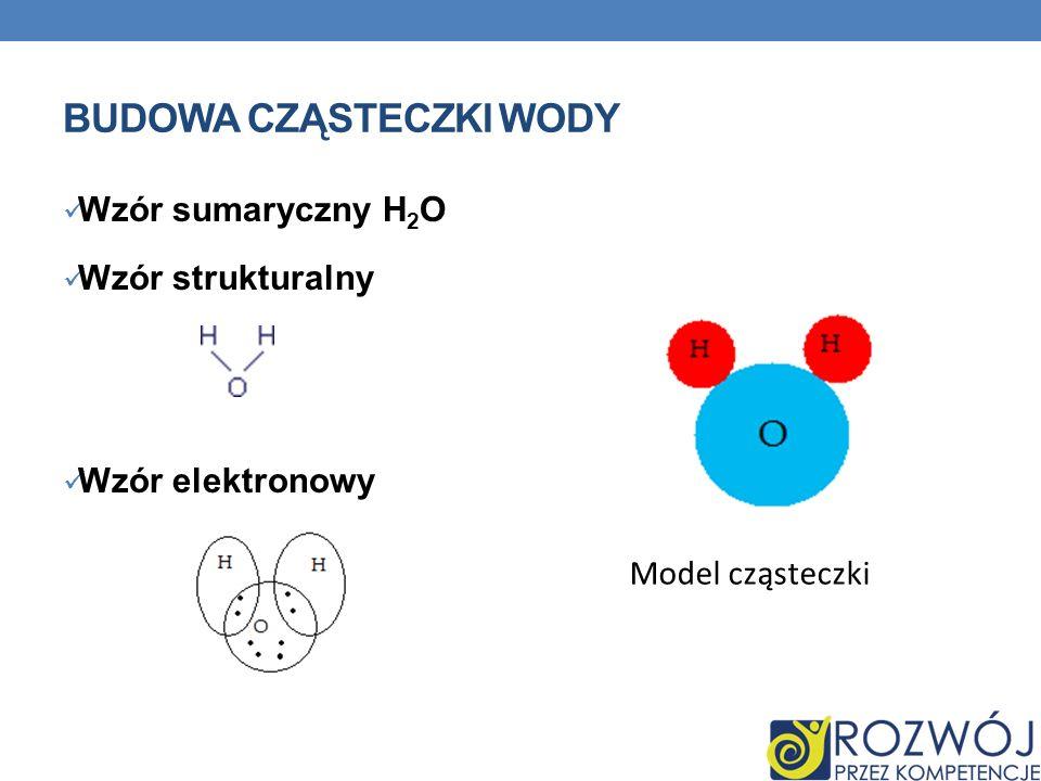 BUDOWA CZĄSTECZKI WODY Wzór sumaryczny H 2 O Wzór strukturalny Wzór elektronowy Model cząsteczki