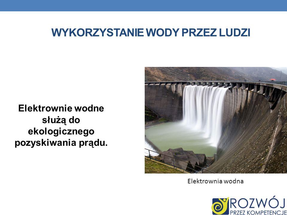 WYKORZYSTANIE WODY PRZEZ LUDZI Elektrownie wodne służą do ekologicznego pozyskiwania prądu.