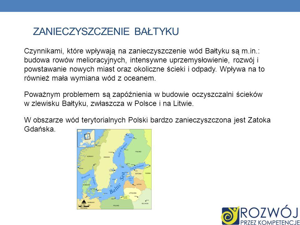 ZANIECZYSZCZENIE BAŁTYKU Czynnikami, które wpływają na zanieczyszczenie wód Bałtyku są m.in.: budowa rowów melioracyjnych, intensywne uprzemysłowienie, rozwój i powstawanie nowych miast oraz okoliczne ścieki i odpady.