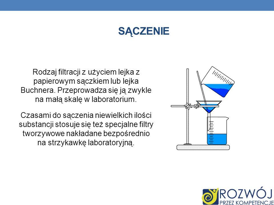 SĄCZENIE Rodzaj filtracji z użyciem lejka z papierowym sączkiem lub lejka Buchnera.