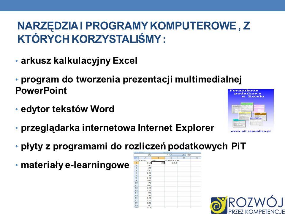NARZĘDZIA I PROGRAMY KOMPUTEROWE, Z KTÓRYCH KORZYSTALIŚMY : arkusz kalkulacyjny Excel program do tworzenia prezentacji multimedialnej PowerPoint edyto